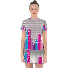 Building Polka City Rainbow Drop Hem Mini Chiffon Dress by Mariart