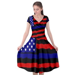Flag American Line Star Red Blue White Black Beauty Cap Sleeve Wrap Front Dress