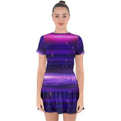 Massive Flare Lines Horizon Glow Particles Animation Background Space Drop Hem Mini Chiffon Dress by Mariart