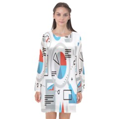 Science Mathematics Formula Long Sleeve Chiffon Shift Dress  by Mariart