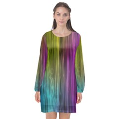Rainbow Bubble Curtains Motion Background Space Long Sleeve Chiffon Shift Dress