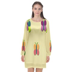 Spring Butterfly Wallpapers Beauty Cute Funny Long Sleeve Chiffon Shift Dress