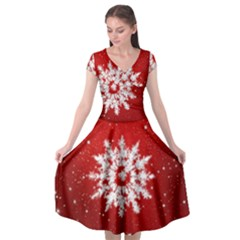 Background Christmas Star Cap Sleeve Wrap Front Dress by Nexatart