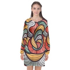 Beautiful Pattern Background Wave Chevron Waves Line Rainbow Art Long Sleeve Chiffon Shift Dress  by Mariart