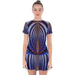 Illustration Robot Wave Rainbow Drop Hem Mini Chiffon Dress by Mariart