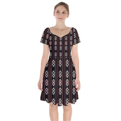 Folklore Pattern Short Sleeve Bardot Dress by Valentinaart