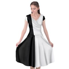 Black And White Cap Sleeve Wrap Front Dress by Valentinaart