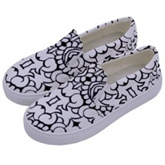 Psychedelic Pattern Flower Crown Black Flower Kids  Canvas Slip Ons by Mariart