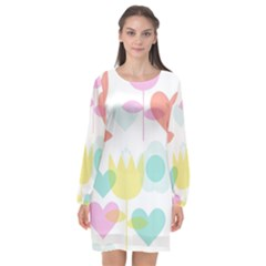Tulip Lotus Sunflower Flower Floral Staer Love Pink Red Blue Green Long Sleeve Chiffon Shift Dress