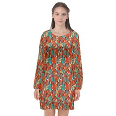 Surface Patterns Bright Flower Floral Sunflower Long Sleeve Chiffon Shift Dress