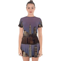 Skyline City Manhattan New York Drop Hem Mini Chiffon Dress