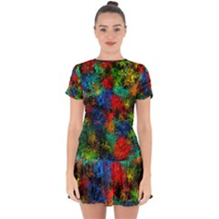 Squiggly Abstract A Drop Hem Mini Chiffon Dress by MoreColorsinLife