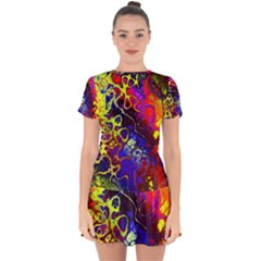 Awesome Fractal 35c Drop Hem Mini Chiffon Dress