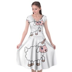 Unicorn Sheep Cap Sleeve Wrap Front Dress by Valentinaart