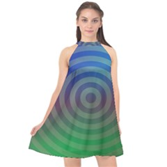 Blue Green Abstract Background Halter Neckline Chiffon Dress  by Nexatart