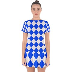 Blue White Diamonds Seamless Drop Hem Mini Chiffon Dress by Nexatart