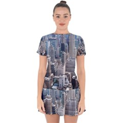 Manhattan New York City Drop Hem Mini Chiffon Dress by Nexatart