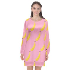 Banana Fruit Yellow Pink Long Sleeve Chiffon Shift Dress  by Mariart
