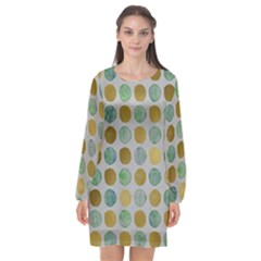 Green And Golden Dots Pattern                      Long Sleeve Chiffon Shift Dress by LalyLauraFLM