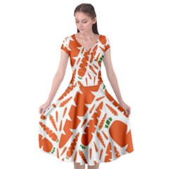 Carrots Fruit Vegetable Orange Cap Sleeve Wrap Front Dress
