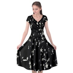 Falling Spinning Silver Stars Space White Black Cap Sleeve Wrap Front Dress by Mariart