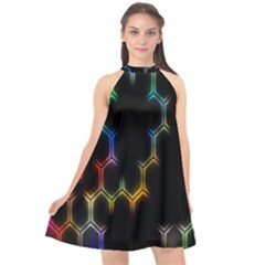 Grid Light Colorful Bright Ultra Halter Neckline Chiffon Dress  by Mariart