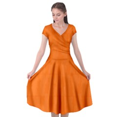 Line Orange Cap Sleeve Wrap Front Dress by Mariart