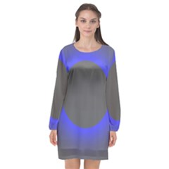 Pure Energy Black Blue Hole Space Galaxy Long Sleeve Chiffon Shift Dress