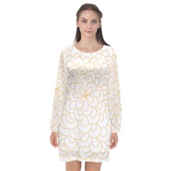 Rosette Flower Floral Long Sleeve Chiffon Shift Dress