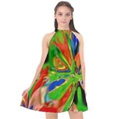 Acrobat Wormhole Transmitter Monument Socialist Reality Rainbow Halter Neckline Chiffon Dress  by Mariart