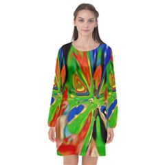 Acrobat Wormhole Transmitter Monument Socialist Reality Rainbow Long Sleeve Chiffon Shift Dress