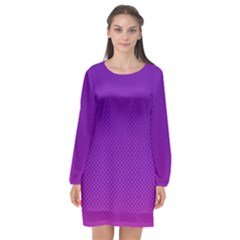 Halftone Background Pattern Purple Long Sleeve Chiffon Shift Dress  by Nexatart
