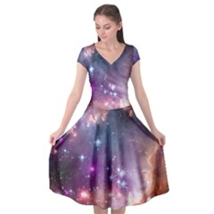 Galaxy Space Star Light Purple Cap Sleeve Wrap Front Dress by Mariart