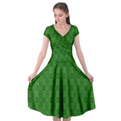 Green Seed Polka Cap Sleeve Wrap Front Dress by Mariart