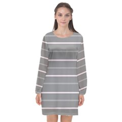 Horizontal Line Grey Pink Long Sleeve Chiffon Shift Dress  by Mariart