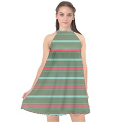 Horizontal Line Red Green Halter Neckline Chiffon Dress  by Mariart