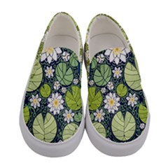 Green & White Lilies & Leafs Women s Canvas Slip Ons by PattyVilleDesigns
