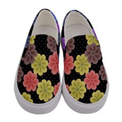 Colorful Cosmos Florals Women s Canvas Slip Ons by PattyVilleDesigns
