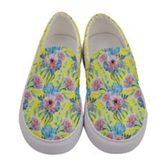 Yellow & Pink Soft Peony Women s Canvas Slip Ons by PattyVilleDesigns