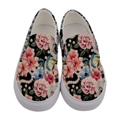 Pink Fashion Peony Women s Canvas Slip Ons by PattyVilleDesigns