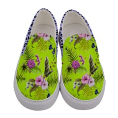 Lime & Purple Cosmos Florals Women s Canvas Slip Ons by PattyVilleDesigns