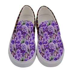 Purple Peony Florals Women s Canvas Slip Ons by PattyVilleDesigns
