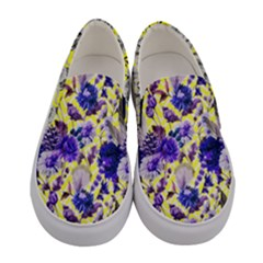Light Yellow & Purple Flowers Women s Canvas Slip Ons by PattyVilleDesigns