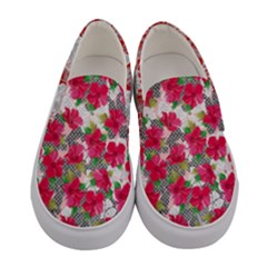 Red & Pink Lilies Women s Canvas Slip Ons by PattyVilleDesigns