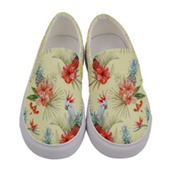 Salmon Parrot & Flowers  Women s Canvas Slip Ons by PattyVilleDesigns