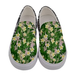 Green & Yellow Lilies Flowers Women s Canvas Slip Ons by PattyVilleDesigns