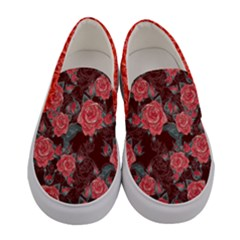 Maroon Roses Women s Canvas Slip Ons by PattyVilleDesigns