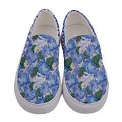 Royal Blue Elegant Flowers Women s Canvas Slip Ons by PattyVilleDesigns