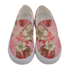 Light Coral Flowers Women s Canvas Slip Ons by PattyVilleDesigns