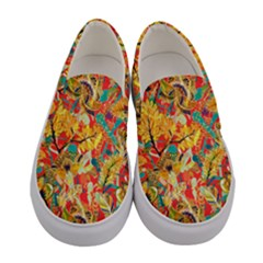 Dark Yellow Elegant Flowers Women s Canvas Slip Ons by PattyVilleDesigns